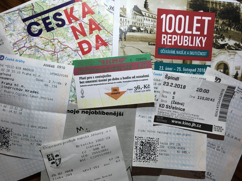 Jízdenky, vstupenky a mapy z výletu naslepo