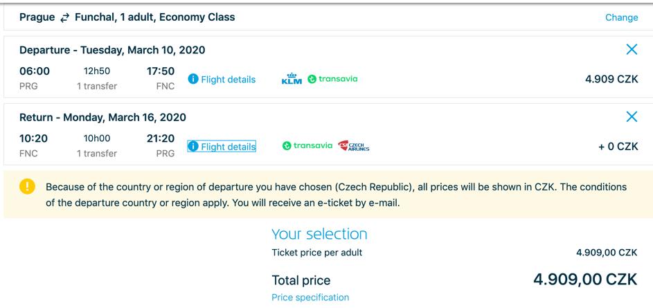 Letenky na Madeiru 2020