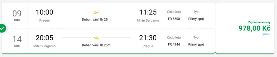 Letenka do Milána 2020