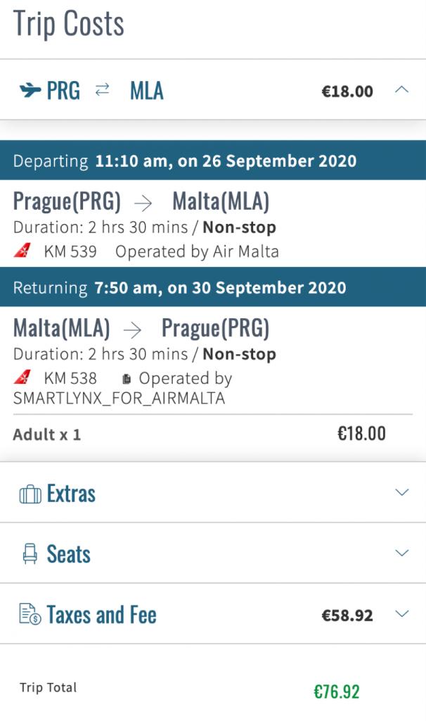 Letenka na Maltu 2020