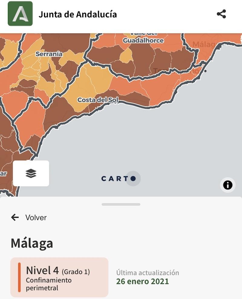 Mapa Andalusie a úrovní opatření